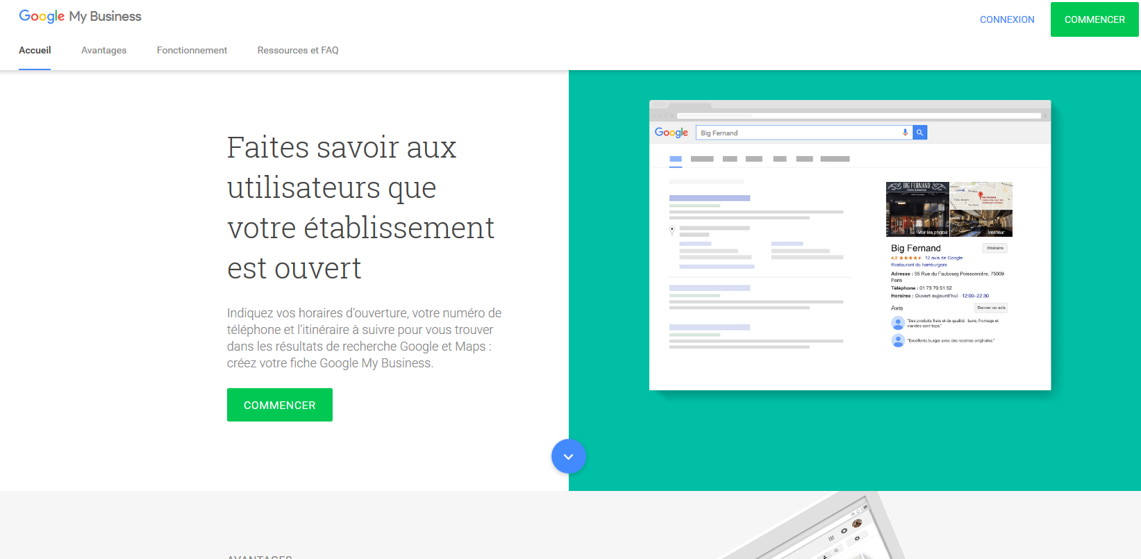 page inscription google my business