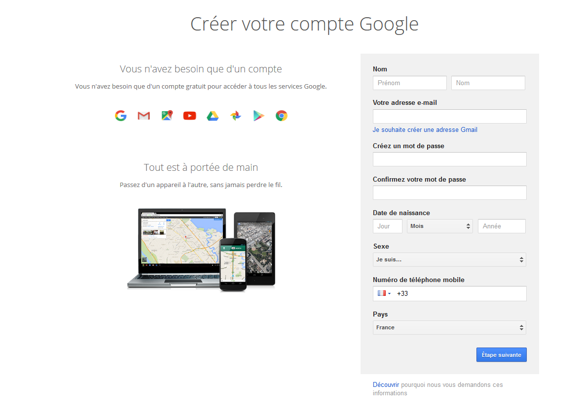 creation compte google