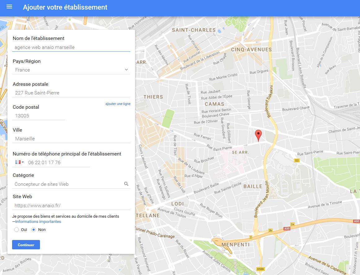formulaire fiche entreprise google map