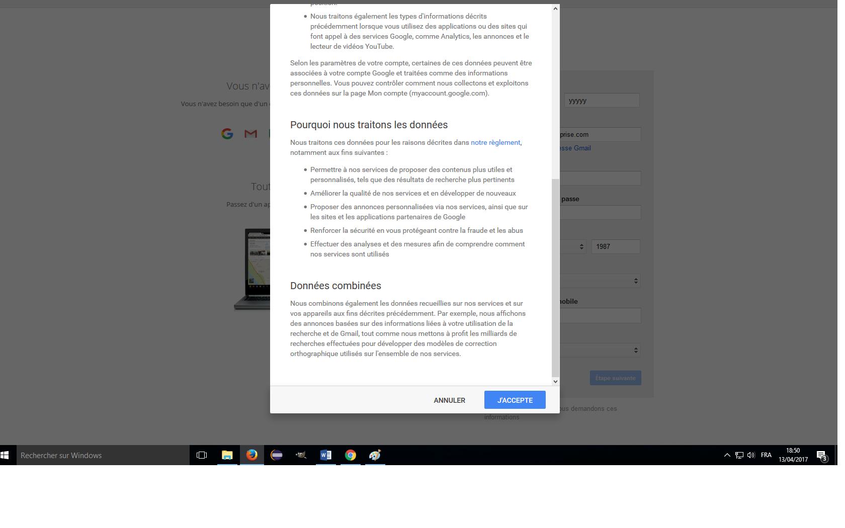 conditions générales inscription compte google